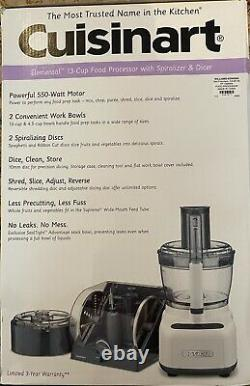 Cuisinart Elemental 13-Cup Food Processor with Spiralizer & Dicer-NEW, FP-1300WS